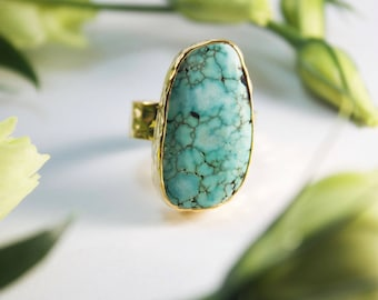 Genuine Turquoise Ring in Gold Plated Beaten Sterling Silver Setting - Size 8.5 US - Natural Turquoise Jewellery - Gemstone Jewelry