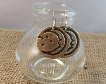 Embossed Crescent Moon Metalwork Earrings