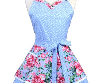 Sweetheart Retro Apron - Periwinkle Pink Floral Kitchen Apron - Womens Flirty Sexy Cute Pinup Apron with Pocket - Monogram Option
