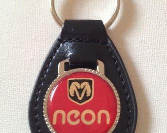 Dodge Neon Keychain Black Leather Key Chain
