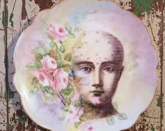 Vintage Phrenology Head Altered Art Decorative Hanging Wall Plate