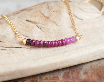Ombre Ruby Necklace - July Birthstone