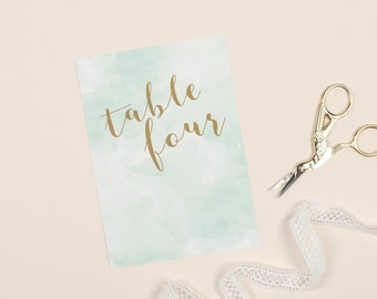 Mint green and gold watercolour 'Romance' wedding table number pack