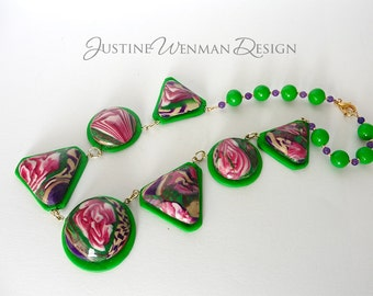 Red Rose on Green Necklace, Statement Piece, Very Dramatic in Lightweight Polymer Clay, Holiday Colors