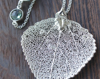 Silver Dipped Aspen Leaf Necklace - Layering Necklace - Aqua Chalcedony, Teal Quartz