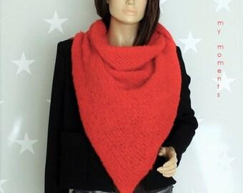 TRIANGLE SCARF, Alpaka / Wool red