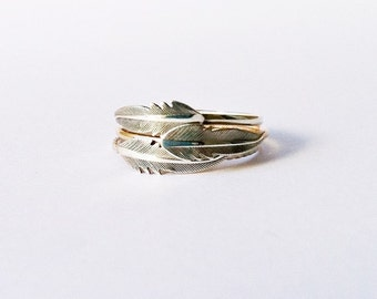 Feather Ring, Stackrings, 14k gold filled and sterling silver, ONE ring