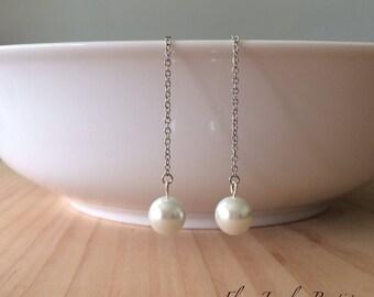Glass Pearl Threader Earrings