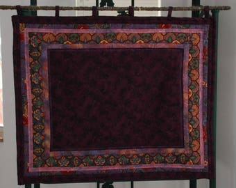Bulletin Board in Plum Flannel with Aborescent Border
