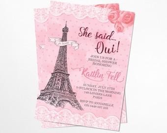 French Love Bridal Shower Invitation - Printable, Parisienne
