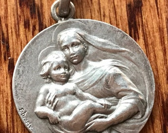 """Vintage Mother Mary with Child Jesus by Dropsy Silver Religious Medal Pendant on 18"""" sterling silver rolo chain"""