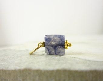 Something Blue Aventurine Pendant - Sterling Silver Pendant - 14k Gold Wire Wrapped Gemstone Jewelry - Polished Gemstone Pendant