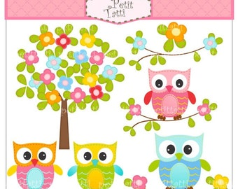 ON SALE owl clip art - cute tree clip art, Digital clip art  for all use, Owl and flowers tree, instant download clip art