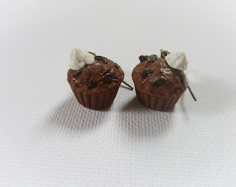 Muffin chocolate polymer clay earrings