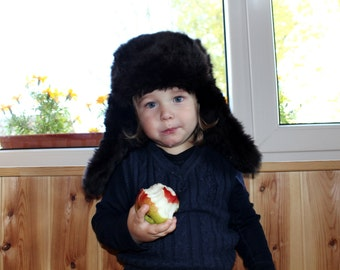 Fur hat Soviet vintage rabbit fur hat Ushanka ear flap hat Unisex winter hat Warm winter hat Vintage trapper hat Black fur hat Real fur hat
