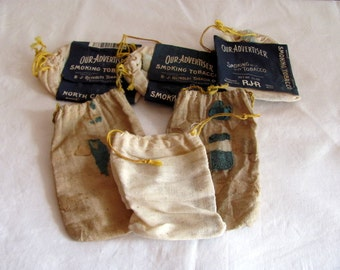 6 Vintage Tobacco Sacks or Pouches
