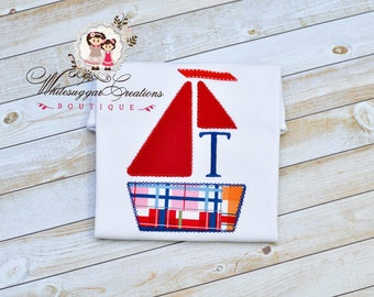 Sail Boat Applique Shirt with Initials - Custom Vintage Stitches Monogrammed Boys Shirt