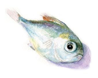 Watercolor Fish, Bait Print, Small Fish Print, Fish Print, Fish Art
