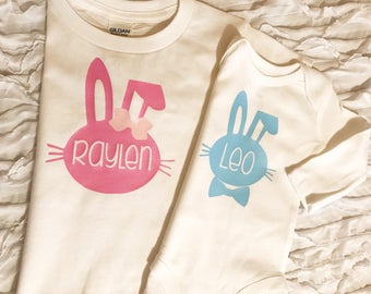 First Easter. Baby First Easter. Easter Bodysuit. Easter Outfit. Baby Girl. Baby Boy. baby name outfit. Bunny shirt. Bunny Name. Easter 2018