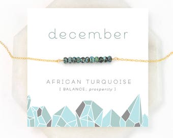 December Birthstone Necklace, African Turquoise Bar Necklace, Healing Gemstone Gift, Dainty Gold Necklace, Silver Necklace, Birthday Gift