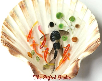 Black spots Koi in the shell,Resin 3D paintings handmade【SPECIAL PRICE!】a lovely gift,xmas gifts,resin painting