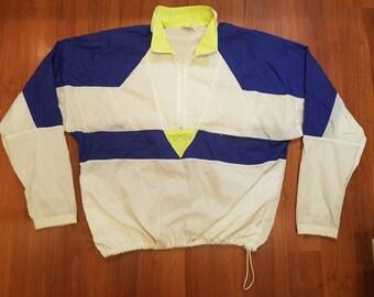Vintage Nike Windbreaker, 90s Neon Nike Pullover, Size L