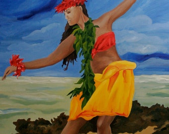 """Reserved for lede Hawaiian Hula Dancer 8""""×10"""" fine art print with  11""""×14"""" double matting in black with white trim on archival luster paper"""