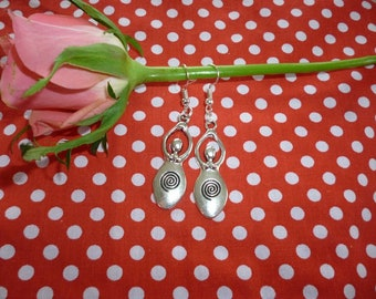 Sacred Spiral Goddess Earrings Spiral goddesses  silver tone   feminist symbol
