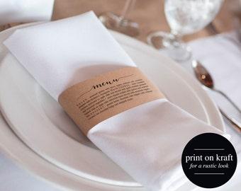 Printable Wedding Menu, Napkin Menu Wrap, Wedding Menu Template, Menu Cards, Menu Template, Rustic Wedding, PDF Instant Download #BPB165_4W