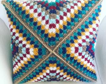 Multicolour Crochet Cushion