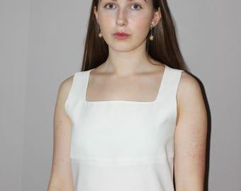 white 50s dress/ square neck dress / simplistic 1950s dress