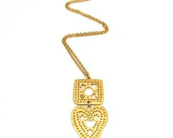Avon Necklace | Celestial Necklace | Moon Stars Necklace | Heart Pendant Necklace | Cut Out Necklace | Gypsy Necklace | Gold Boho Necklace