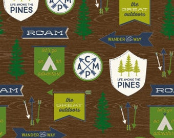 The Great Outdoors Main Print On Brown from Riley Blake's The Great Outdoor Collection