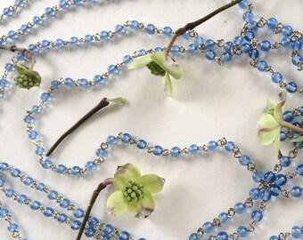 Light Blue Bead Chain, Glass Rosary Chain, Sky Blue Glass Bead Chain, 4mm, 5Ft