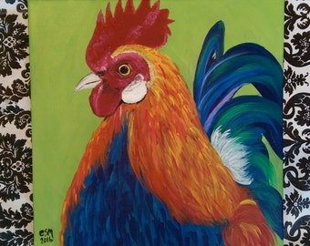 "Rooster 2 - Acrylic Painting 12"" x 12"" SALE PRICE!"