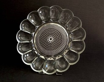 Vintage Glass Deviled Egg Dish by Indiana Glass, Hobnail Clear, Deviled Egg Plate