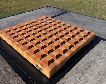 "Hard Maple, Cherry and Walnut 3D Grid End Grain Cutting Board (measures: 15 3/8"" x 13 1/4"" x 1 1/4"" thick)"