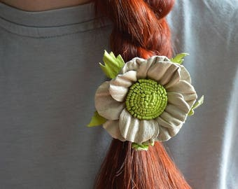 scrunchy leather jewelry Hair Accessories charm jewelry unusual jewelry nature gifts nature inspired beige flower gray jewelry gift under 30