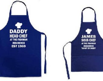 Personalised Head Chef Sous Chef Father Son Daughter Adult Child Apron set - kitchen cooking novelty item Father's day gift Personalized