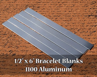 10 - 1100 Aluminum 1/2 in. x 6 in. Bracelet Cuff or Bookmark Blanks - Polished Metal Stamping Blanks - 14G 1100 Aluminum - Flat