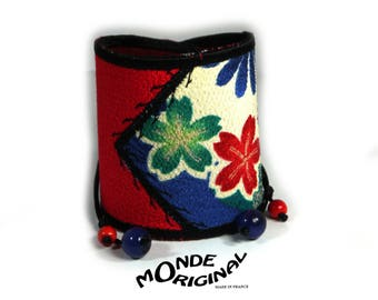 Patchwork embroidered Japanese fabric and leather Cuff Bracelet