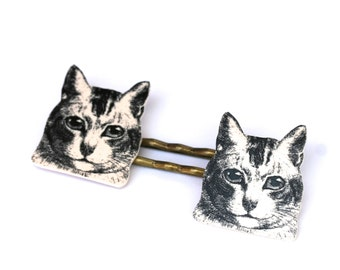 Cat Bobby Pins - Cat Jewelry - Black and White Jewelry - Meow - Shrink Plastic - Kitty - Bridesmaid Gifts - Furbabies - Cat Illustration