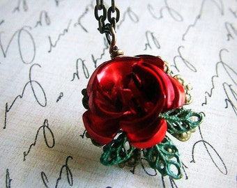 Organic Red Rose and verdigris green leaf necklace, single flower drop, simple necklace, floral