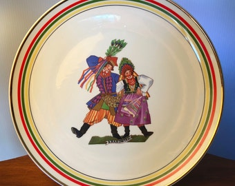 "Cmielow collectible plate featuring ""Krakowiak"" dancers made in Poland"