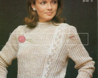 Lady's Lace Panel Sweater 32-42in 4ply Patons 7771  Vintage Knitting Pattern PDF instant download