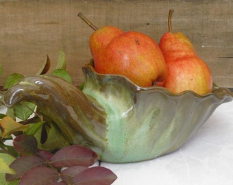 Vintage Frankoma Indoor Planter, Frankoma Pottery, Cornucopia, Horn of Plenty, Fruit Bowl, Rustic Planter, Vintage Farmhouse Planter