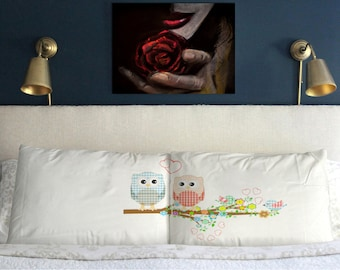 OWL LOVE Pillow  Cases Valentine's day  Wedding Perfect  Gift Couple