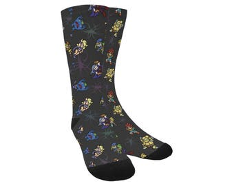 Chrono Trigger Socks - Video Game Socks Cosplay Socks Comicon Socks Videogame Socks 8-bit Socks pixel Socks Marle Socks
