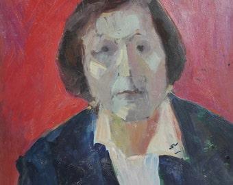 Vintage oil painting expressionist man portrait