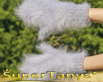 Made to order hand knit thick and fuzzy mohair mittens in grey by SuperTanya